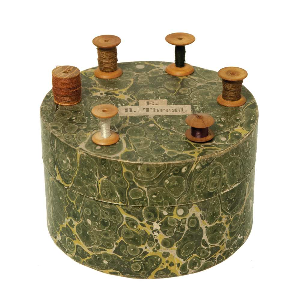 Lot 28: Round box with Six Spools