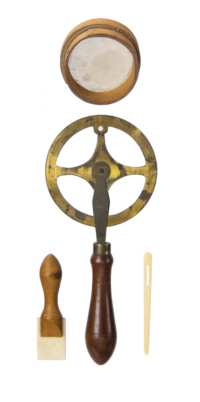 Lot 94: Four Ivory, Wood and Brass Objects