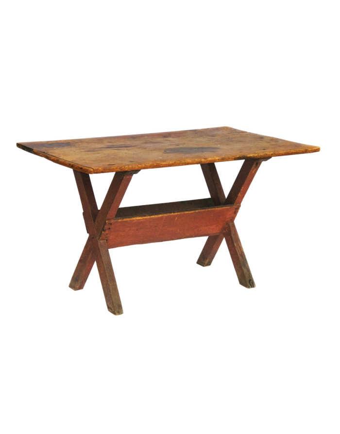 Lot 10: 18th C. New England Pine Sawbuck Table