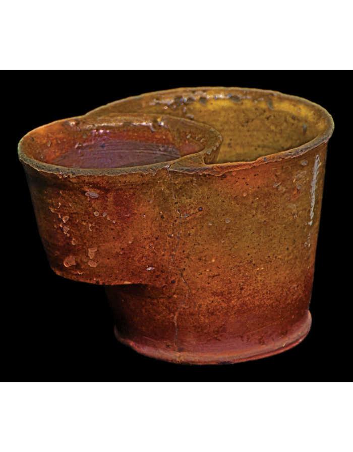 Lot 115B: 19th C. New England Redware Shaving Mug