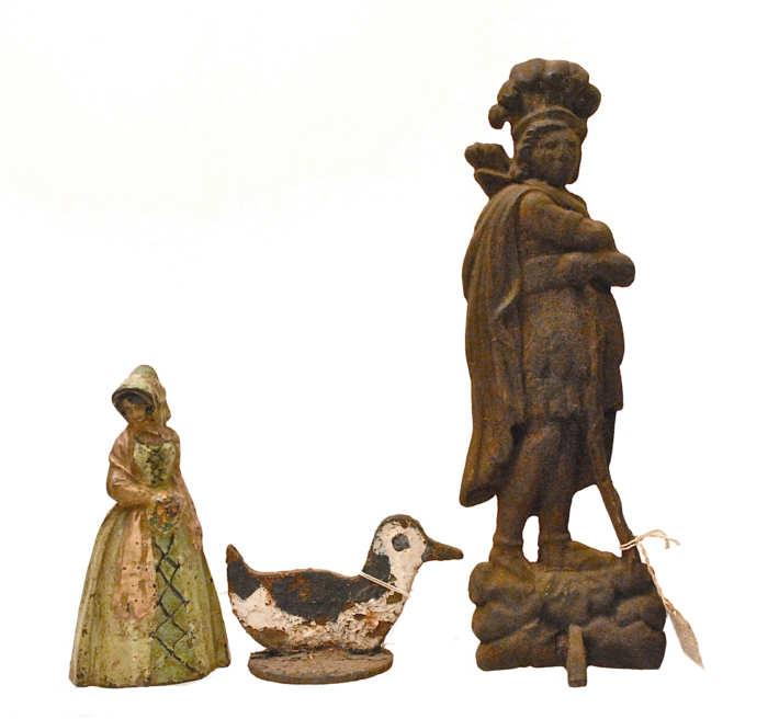 Lot 201: Three 19th/20th C. Cast Iron Objects