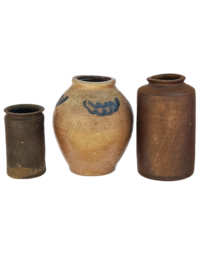Lot 28: Three Unusual 19th C. Stoneware Containers