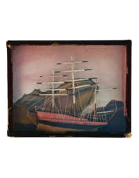 Lot 51: 19th C. Framed Three-Masted Schooner