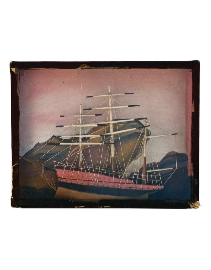 Lot 51: 19th C. Framed Three-Masted Schooner