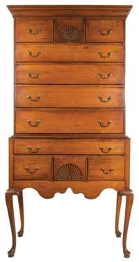Lot 110: 18th c. Connecticut Highboy