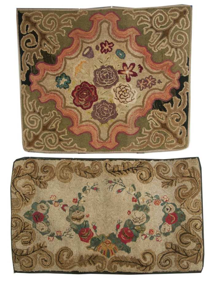 Lot 138: Two Floral Hooked Scatter Rugs