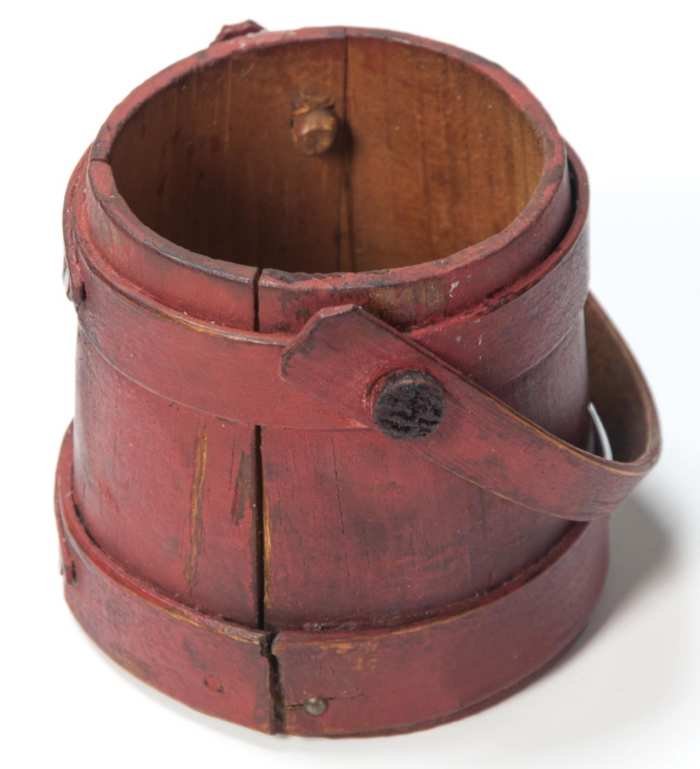 Lot 139: Rare 19th c. Miniature Hingham Firkin