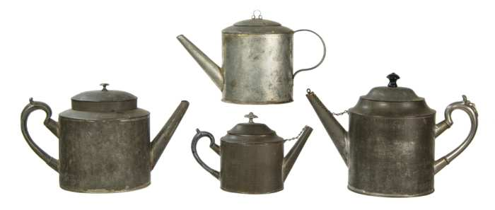 Lot 146: Collection of 19th c. Tin Teapots