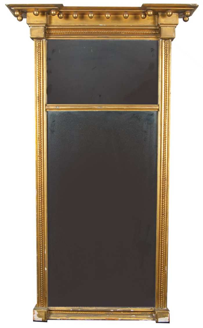 Lot 149: 19th c. Federal Two-Part Looking Glass