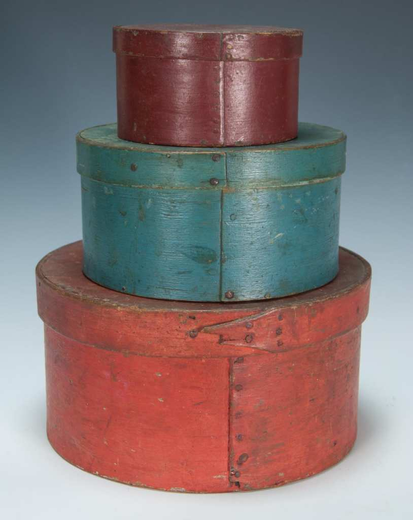 Lot 14B: Three 19th c. Round Pantry Boxes