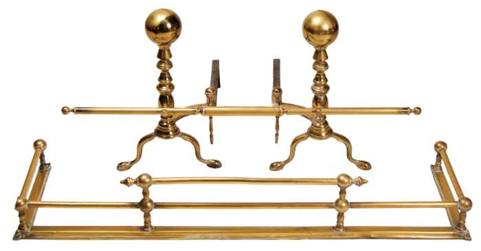 Lot 167: Pair of 19th c. Ball Top Andirons