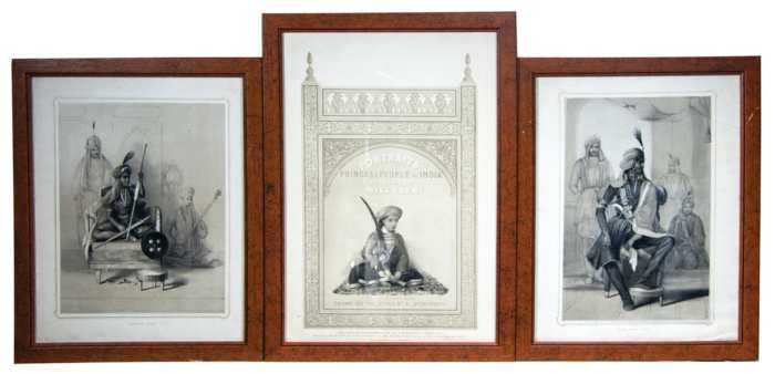 Lot 206: Three 19th c. Framed Indian Prints