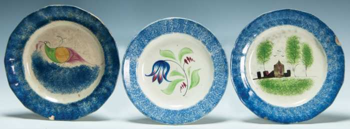 Lot 239: Three 19th c. Spatterware Plates