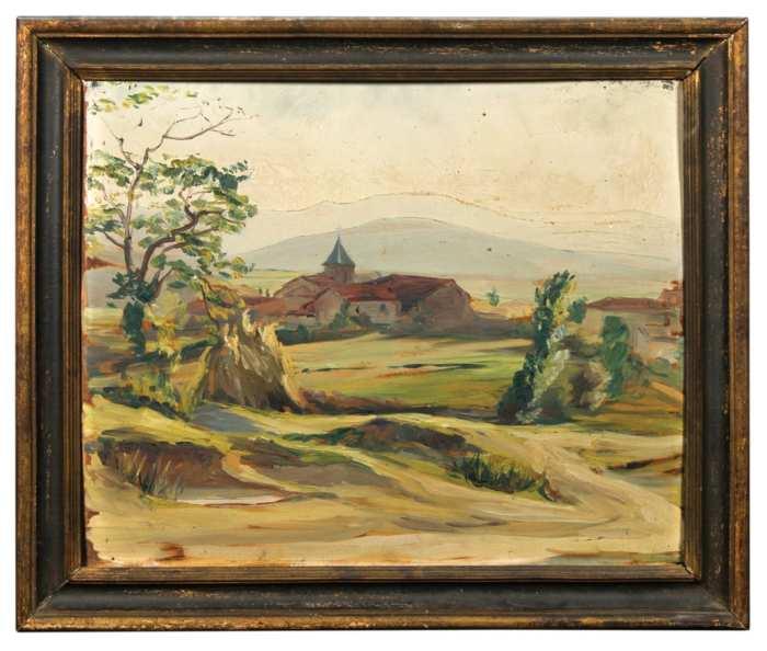Lot 258: Landscape Oil; and Seascape Watercolor