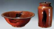 Lot 26: Redware Bowl and Jar