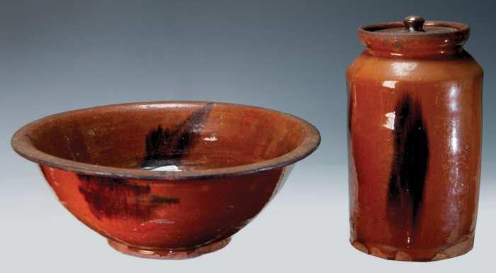 Lot 26: Redware Bowl and Jar