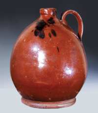 Lot 28B: Large Ovoid Redware Jug