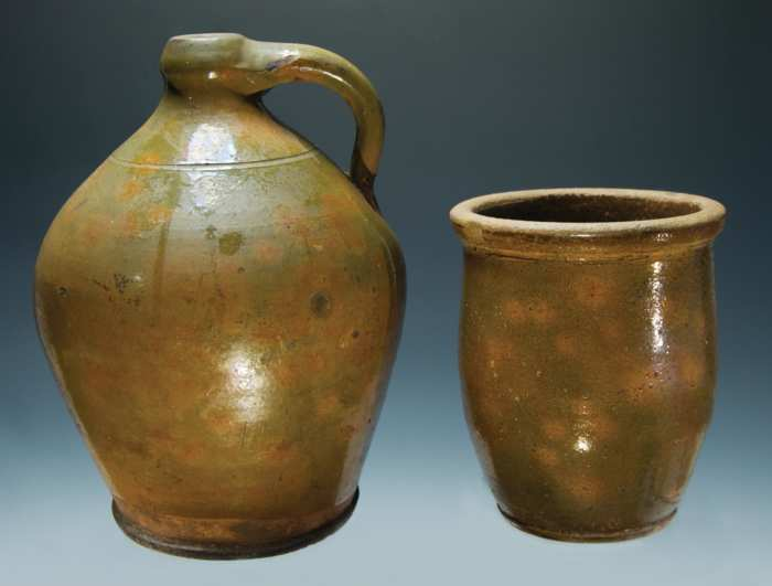 Lot 2: Two 19th c. N.H. Redware Pieces