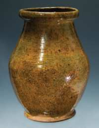 Lot 3: 19th c. Ovoid Redware Jar