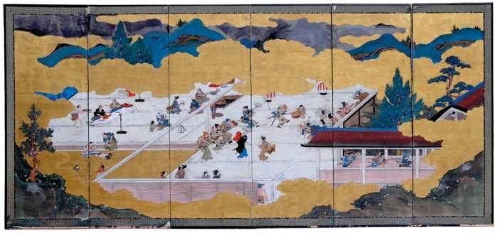 Lot 59: Six Panel Japanese Screen