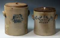Lot 7: Two 19th c. Stoneware Crocks