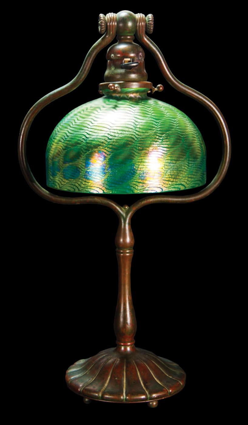 And bronze table lamp tiffany studios the shade with iridescent green - Lot 82 Signed Tiffany Desk Table Lamp Willis Henry