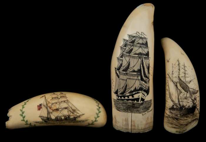 Lot 99: Three Antique Whale's Teeth
