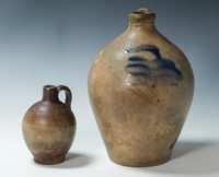 Lot 9: Two 19th c. Stoneware Ovoid Jugs