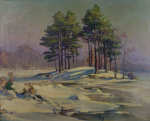 Lot 101: 20th C. Oil on Board MA Winter Scene Signed Charles Vermaski