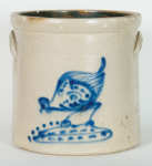 Lot 158: 19th C. Three Gallon Stoneware Pecking Chicken