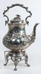 Lot 1: Late 19th C. English Silver Teapot on Stand