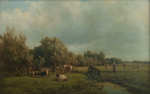 Lot 21: 19th C. Oil on Canvas Landscape with Cows Signed Willem Vester