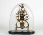 Lot 24: 19th C. Brass Skeleton Frame Mantel Clock