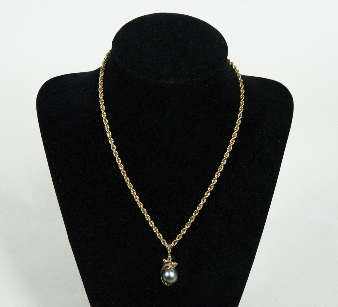 jewelry, necklace, gold, dolphin, pearl