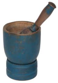 mortar, pestle, maple, blue