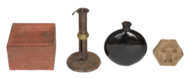 candlestick, box, butter stamp, bottle