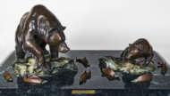 bronze, sculpture, marble, valdez, bears