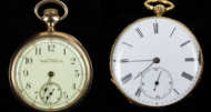 gentlemen's, pocket, watch, 14k, gold, waltham, hingham
