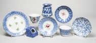 spongeware, bowls, plates, cups, saucers