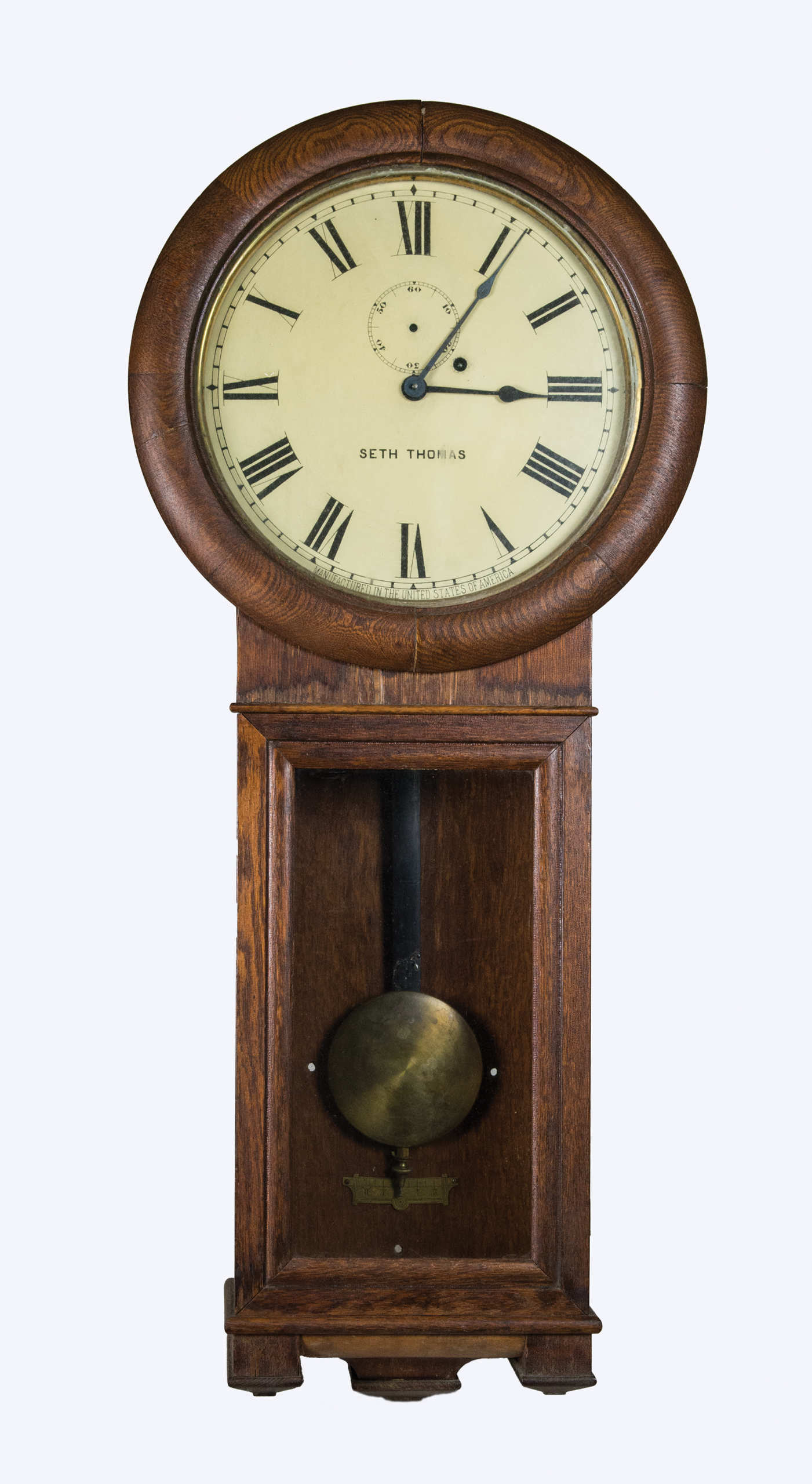 regulator, clock, oak