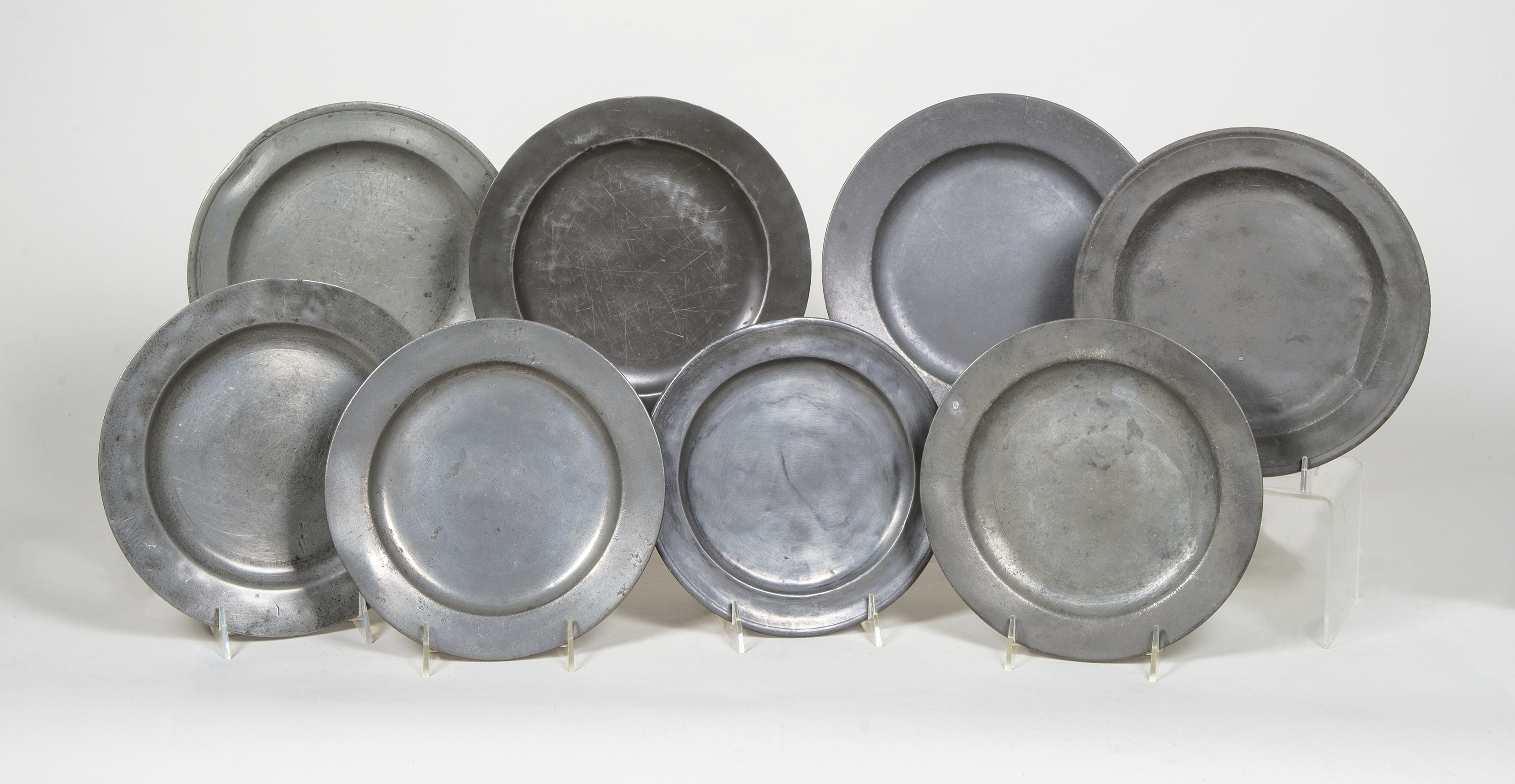 Lot 147A Eight Antique Pewter Plates & Willis Henry Auctions Inc.
