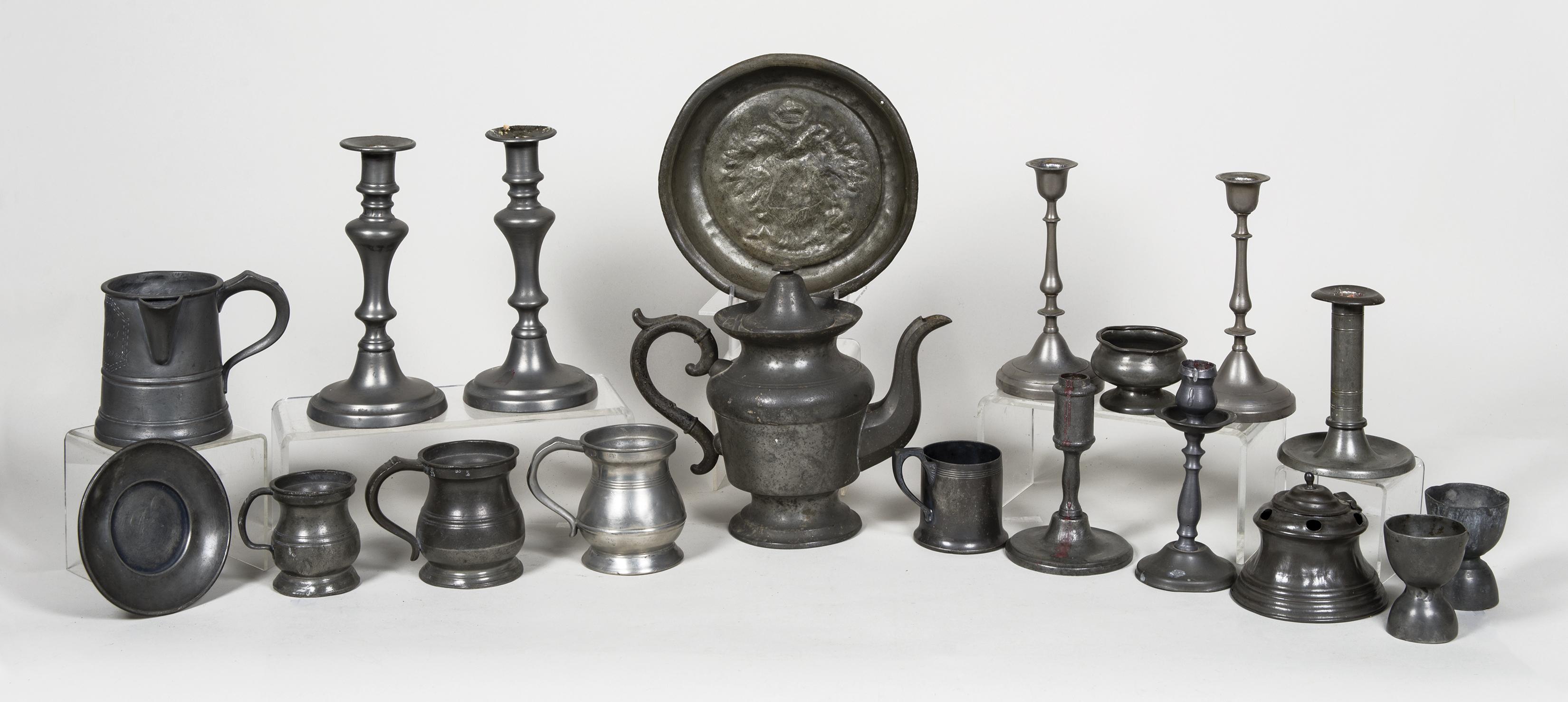pewter, candlesticks, measures