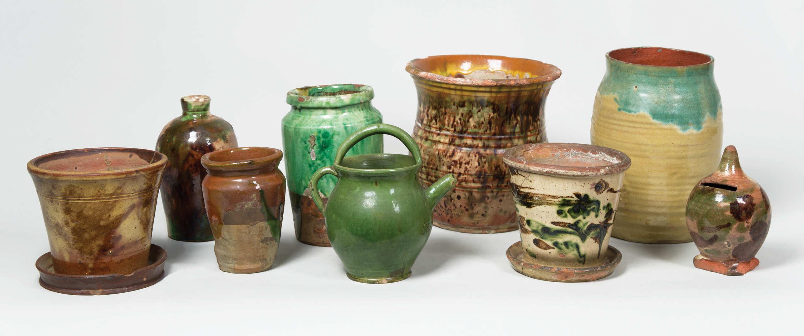 redware, jars, planters, bank, bottle