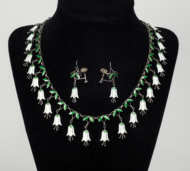 victorian, enamel, necklace, earrings, soloman, lincoln