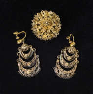 victorian, gold, pin, 12k, earrings, pearls