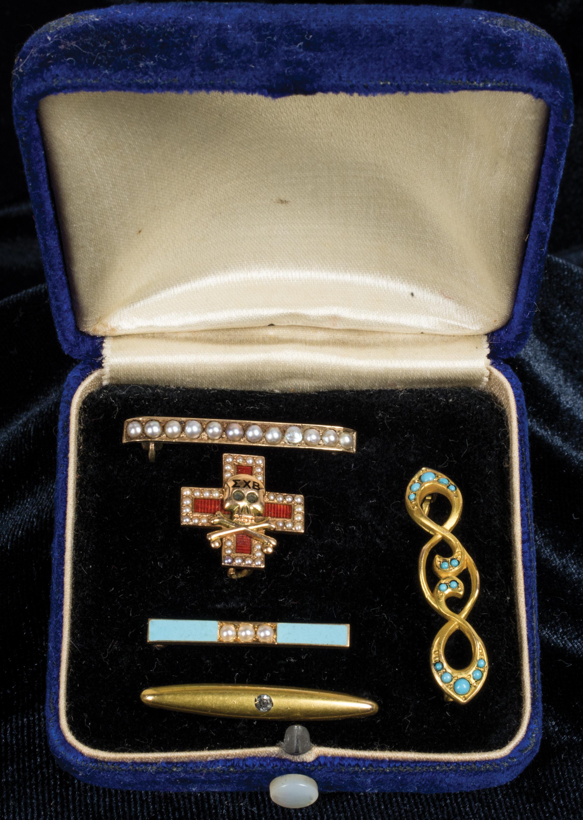 victorian, gold, pin, 12k, earrings, pearls