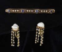 gold, 14k, earrings, pin, pearl, soloman, lincoln