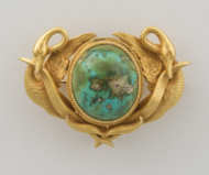 edwardian, 14k, gold, pin, turquoise, stone