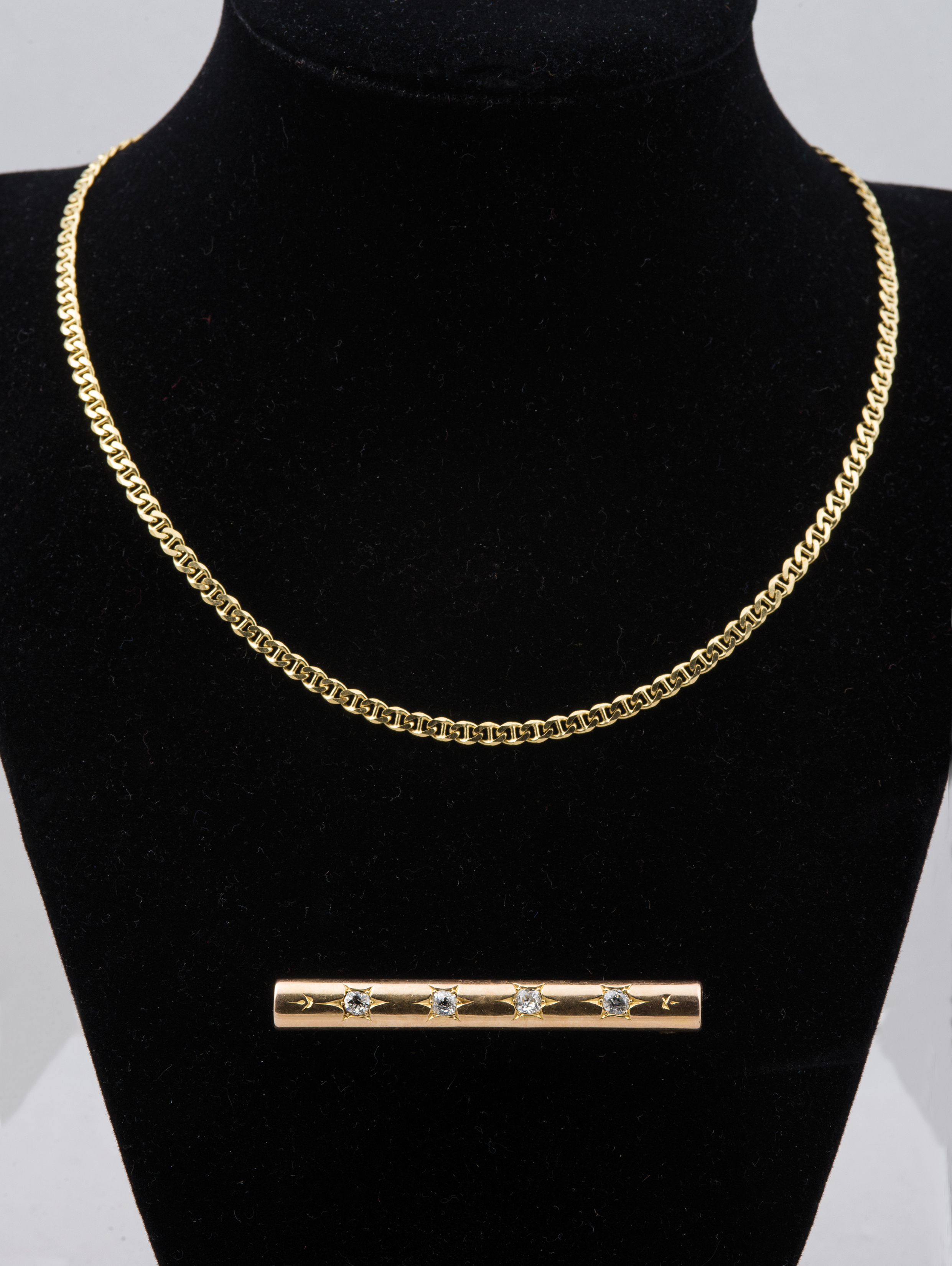 18k, gold, necklace, 14k, bar, pin