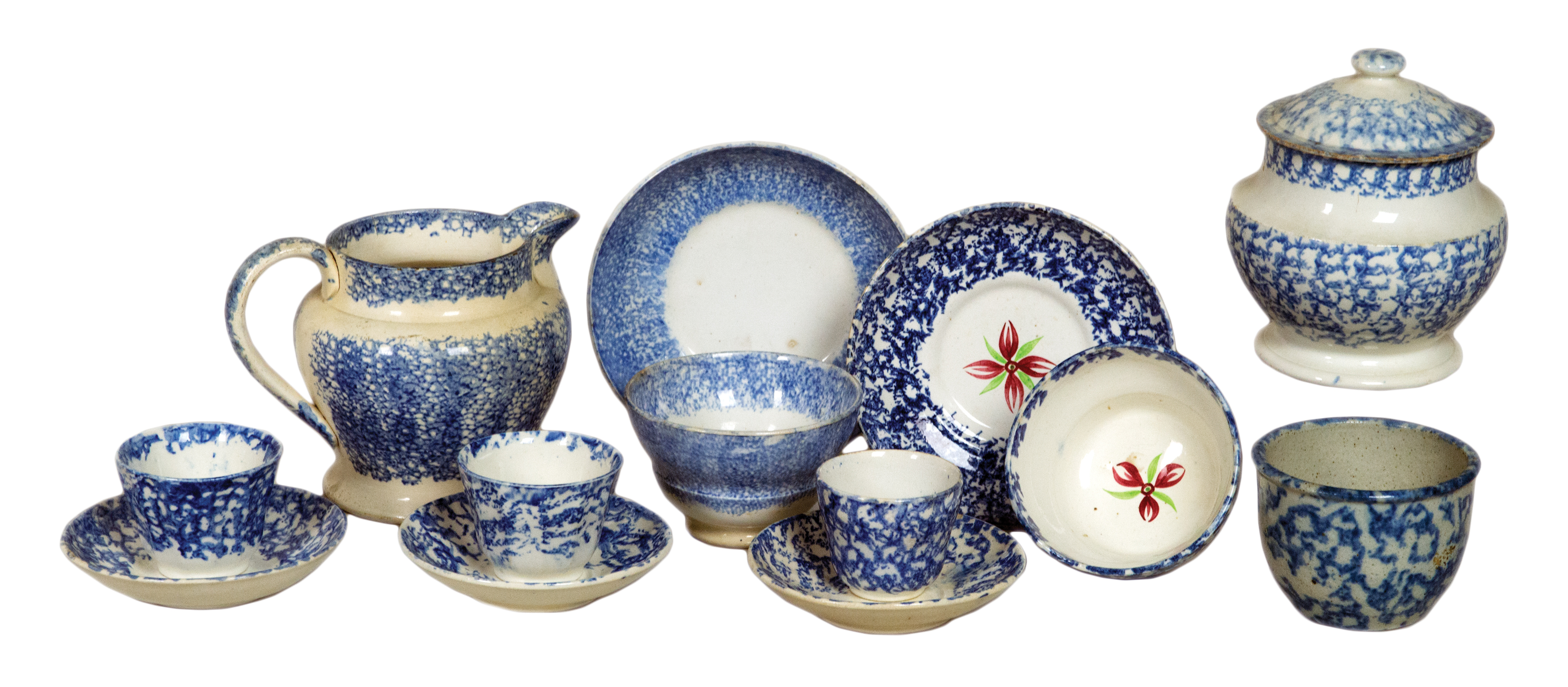 sponge, spatterware, bowls, teacups